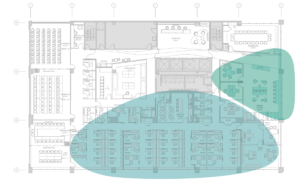Floor Plan illustrating Member Spaces (Green), Staff Spaces (Blue) and Classroom/Conference Rooms (White)